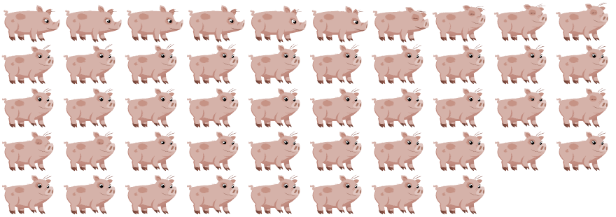 "The Piggy's ""look at screen"" spritsheet."